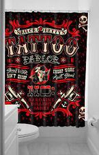 Authentic Sourpuss Sailor Betty Tattoo Gun Parlor Shower Curtain Bath Punk