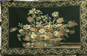 """Floral Wall Art Tapestry Hanging Victorian Style Hunter Green Pink Gold 51""""x33"""""""