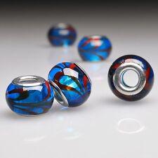 5pcs Hot Round Blue Lampwork Glass Beads Fit European Bracelet Charm LB0115