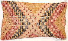 (40*60cm) Genuine Turkish handwoven kilim cushion Orange/yellow/black/marks #1