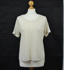 POETRY / WRAP LONDON UK 10 FR 36 Cream Gold Striped Linen Blend Boxy Casual Top