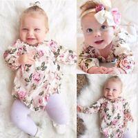 Baby Girl Floral Clothing Long Sleeve Bodysuit Romper Jumpsuit Sunsuit Babygrows
