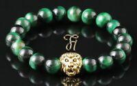 Tigerauge grün - goldfarbener Löwenkopf - Armband Bracelet Perlenarmband 8mm