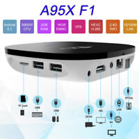 A95X F1 Android 8.1 TV Box Quad Core H.265 2GB 16GB WiFi LAN HD Media Player