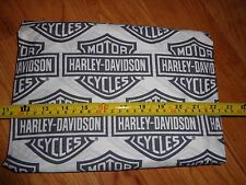 "2 yd Long (72"") x 11"" Wide Harley Davidson Fabric Black/Gray White Shield - New!"