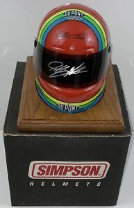 JEFF GORDON AUTOGRAPHED 1/2 Scale Simpson Helmet On Wood Base Super Rare