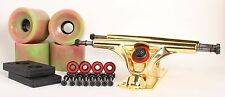 70mm 78a Pink/Green Longboard Wheels and Gold Reverse Kingpin Truck Combo Set