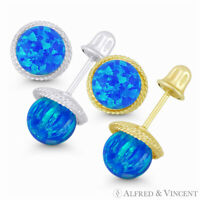 5mm Fiery Pacific-Blue Opal, 7mm Ribbed Halo 14k White Yellow Gold Stud Earrings