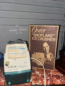 VTG Retro Oster Snowflake Ice Crusher Model 551 Turqoise Blue Tray Unused w/Box