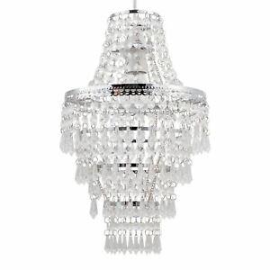 Modern Easy Fit Chrome & Clear Acrylic Crystal Chandelier Style Light Shade