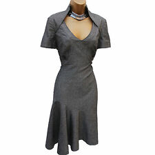 Karen Millen Grey Galaxy Wool Blend Work Office Wiggle Fit Flare Dress UK 8/36