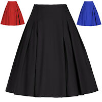 Women's Retro Vintage High Waist Skirt Pleated Flared Skater A-Line Midi Skirts