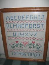 "Cross Stitch Alphabet Sampler w Hearts Numbers 15.75""x12.75"" Oak Frame"