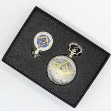 Masonic Set Masons Gold & Silver Fob Watch with Necklace Regalia Freemasonry UK