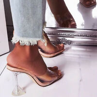 Womens transparent Mules Sliders Ladies Summer Slip On Sandal High Heel Open Toe