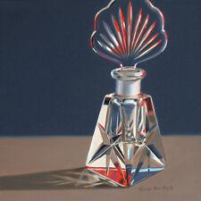 DANFORTH Cut Glass Perfume Bottle 8x8 still life realistic oil painting