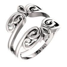 14K White Gold Solitaire Ring Guard Wrap Enhancer Engagement Bridal Wedding Ring