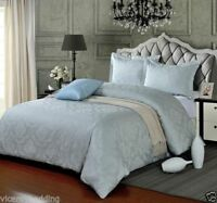SILVER King Size Egyptian Cotton 500 Thread Count Damask Duvet Cover Set
