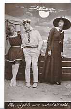 Romance Postcard - The Nights Are Not At All Cold - Two Ladies & One Man   MB937