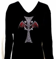 X-LARGE Embellished Rhinestone Halloween Gothic Bat Wings Cross 3/4 Sleeve Top
