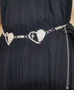 3436 Rhinestone Crystal Goth Hearts Chain Belt Jewelry
