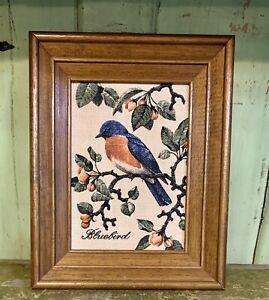 Vintage Kay Dee Handprints 100% Pure Linen Framed Print BLUEBIRD Retro Decor