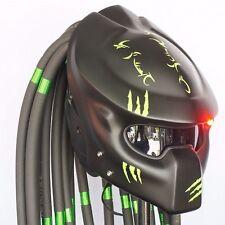 Custom Predator Helmet Matte Green Black Chopper Bobber Motorcycle Open Face
