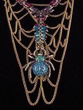 Betsey Johnson Goldtone SPIDER LUX Pave' Set Stone Chain Web Bib Necklace $185