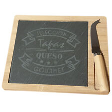 Slate & Bamboo Cheese Board Knife Set Tapas Small Wooden Serving Platter New
