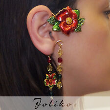 JoliKo Ohrklemme mit Kette Ear cuff Earring Chain Mohn Blume Gypsy Night LINKS