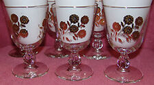 (6) Vintage Gold Flower Design Glasses Stemmed Goblets - Great Condition