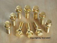 >vergoldet< Felgen-Radbolzen Radschrauben Schrauben M14x1,5x33_BBS,OZ,RH >gold<