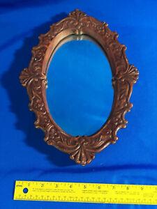 Ceramic/Plaster Oval Mirror Antique-Victorian-Style Brown/Red Mold 487 VTG Folk