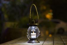 Hanging Solar Glass Bronze Lantern - Warm White LED Lamp