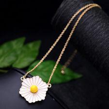 Collier fleur de marguerite blanche et jaune super douce, rétro