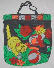 Vintage 1960's Neon Beaded Purse Tote Bag Satchel Cat Ball Blue Red Gold Green