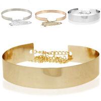 Women Metal Waist Wide Belt Gold Color Mirror Waistband Metallic Chains