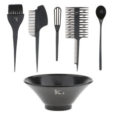 6pcs Professional Hair Dye Bowl Highlight Comb Brush Tint Coloring Kit Black