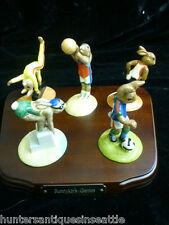 """Royal Doulton """"The Bunnykins Games Collection"""" w/ Wood Stand *Limited Edition*"""