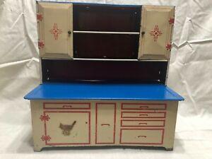 Vintage Wolverine Kitchen Cabinet Blue & Creme