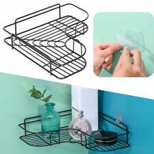 Bathroom Corner Shower Rack Shelf Organiser Storage Holder Tidy Punch-Free Black