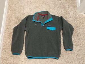 Patagonia Synchilla Snap T Fleece Pullover Gray W/ Blue Trim Women Small