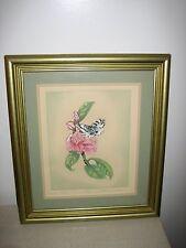 Beautiful green gold framed water color art 'Dear Mettie' by Edith Snyder