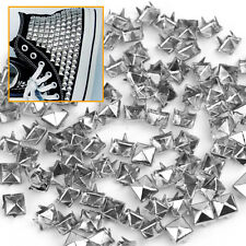 100 rivets pyramide clous à 4 griffes 6mm en métal argenté style punk
