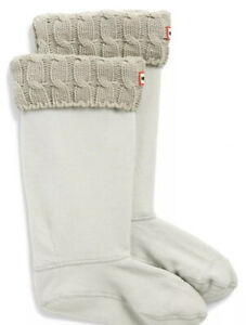 Hunter Original Tall Greige Cable Knit Cuff Welly Socks Size M New in Box