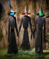 Set of 3 Life Sized Witches Color Changing Lighted Halloween Prop Decoration