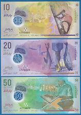 Maldives 3 Notes 10 + 20 + 50  Rufiyaa P 26 27 28 2015 (2016) UNC Polymer