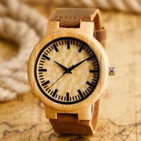 Creative Bamboo Nature Wood Quartz Wrist Watch Men Brown Leather Band Bracelet