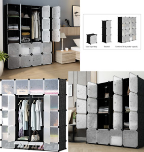 16 20 Cube DIY Plastic Storage Wardrobe Shoe Organizer Shelves Unit Hanging