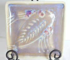"""Square Brown Fish Pottery Stoneware Plate Serving Sushi Cheese Dish Platter 7"""""""
